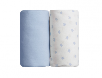 Lot de deux Draps Housse : Bleu & Etoiles Bleues 70x140