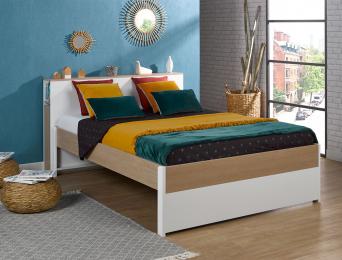 Lit 2 places + Tête de lit Nomade 140x200 cm. Il est possible de rajouter deux tiroirs de rangement sous le lit. Tiroir en optio