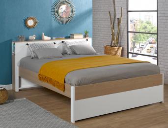 Lit 2 places + Tête de lit Nomade 160x200 cm. Tiroir lit en option