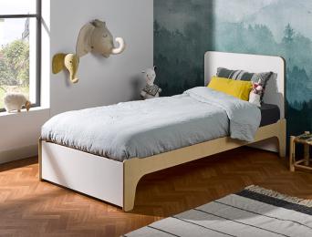 Lit 90x190 cm Essentiel Blanc & bois avec sa tête de lit.