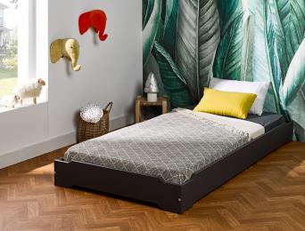 Lit empilable Montessori gris foncé 90x190 cm