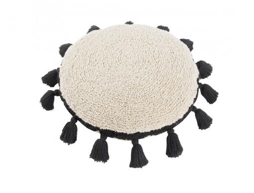 Coussin rond pompon noir