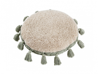 Coussin rond pompon Green