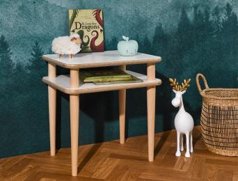 Table de chevet Natura Blanc et bois