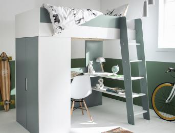 Lit mezzanine + armoire & bureau Opus Blanc & Mousse
