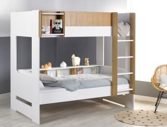 Lit superposé 90x190 cm Blanc et bois avec rangements