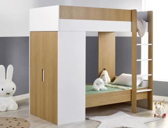 Lit superposé évolutif avec armoire Opus Blanc & bois