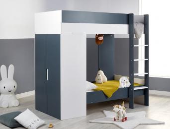 Lit superposé évolutif avec armoire Opus Blanc & Bleu nuit