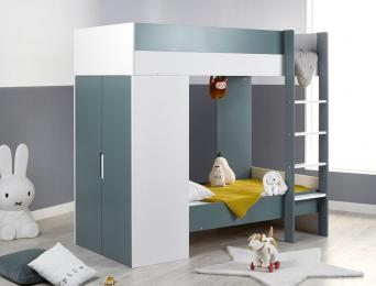 Lit superposé évolutif avec armoire Opus Blanc & Vert mousse