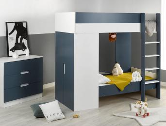 Chambre enfant lit superposé évolutif Opus Blanc & Bleu nuit