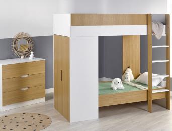 Chambre enfant lit superposé évolutif Opus Blanc et bois