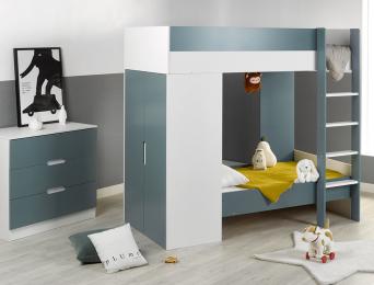 Chambre enfant lit superposé évolutif Opus Blanc & Vert mousse