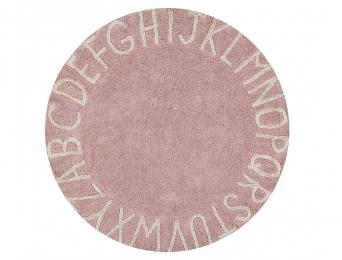 Tapis rond Alphabet Rose Vintage