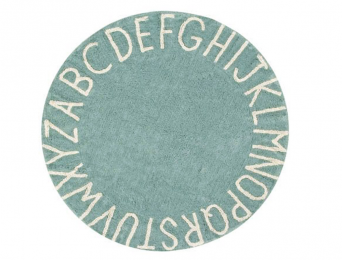 Tapis rond Alphabet Bleu Vintage