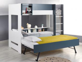 Lit superposé 3 places Blanc et Bleu 90x190 cm