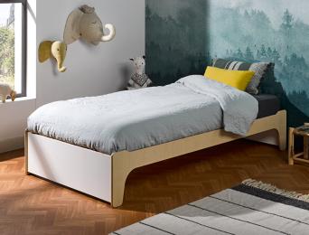 Lit 90x190 cm Essentiel Blanc & bois. Vous pouvez ne pas installer la tête de lit.