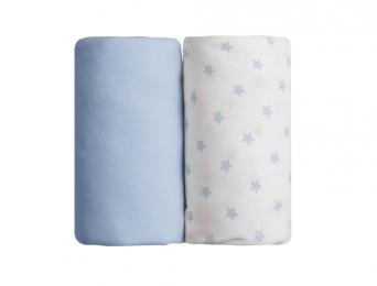 2 Draps Housse 60x120 Bleu & Etoiles Bleues