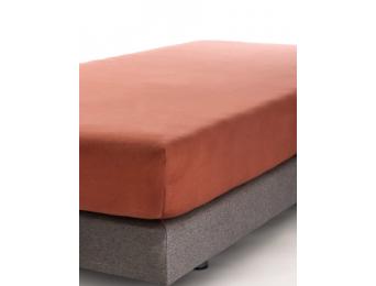 Drap housse 90x140 Terracotta Jersey Coton Bio
