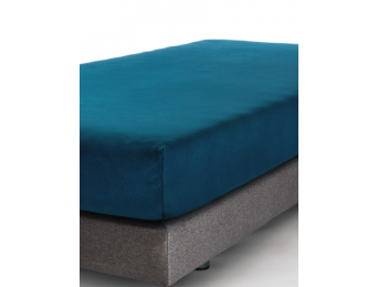 Drap housse 90x140 Bleu Nuit Jersey Coton Bio