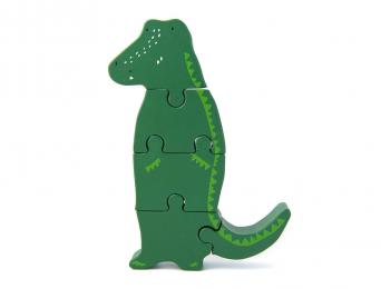 Puzzle en Bois Crocodile Vert