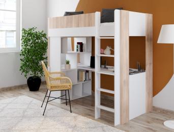 Lit mezzanine avec bureau Blanc et bois Dune