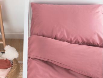 Parure de lit bébé 70x140 Bois de rose.Housse de couette, drap housse et taie 40x60