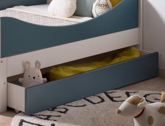 Tiroir de rangement pour lit enfant évolutif Opus Blanc et Bleu nuit. Lit non compris.