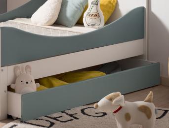 Tiroir de rangement pour lit enfant évolutif Opus Blanc et Vert mousse. Lit Non compris.