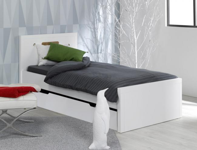 lit enfant blanc milo avec tiroir de lit. Black Bedroom Furniture Sets. Home Design Ideas