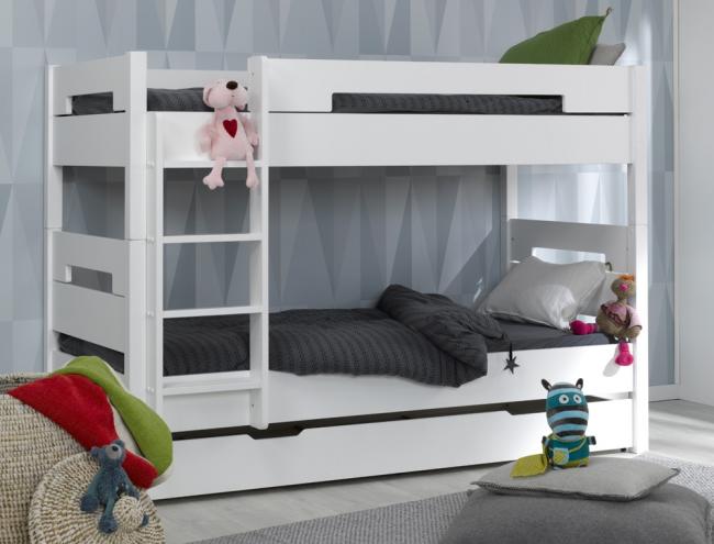 lits superpos s milo blanc avec tiroir. Black Bedroom Furniture Sets. Home Design Ideas
