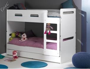 Lit superposé enfant Feroe blanc + tiroir 90x200