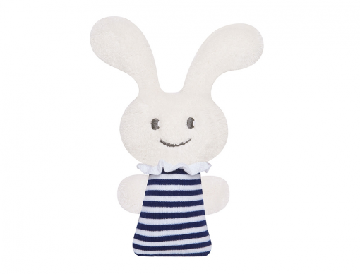 Mini hochet Funny Bunny 16cm rayures marine