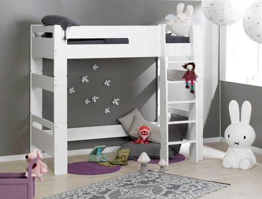 lit mezzanine enfant london blanc 90x190 chambrekids. Black Bedroom Furniture Sets. Home Design Ideas