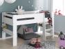Avec le lit mezzanine enfant London Blanc 90/190 vous pouvez faire un lit mi-hauteur