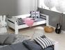 Lit superposé enfant London Blanc 90/190 possibilité de faire un lit banquette et un lit bas