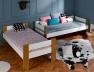 Lit superposé enfant Scandi Blanc/Chêne 90x190 en position lit enfant et lit banquette