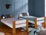 Lit superposé enfant Scandi Blanc/Chêne 90x190. en position lits jumeaux