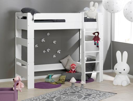 lit mezzanine london blanc 90x190 avec 1 matelas chambrekids. Black Bedroom Furniture Sets. Home Design Ideas