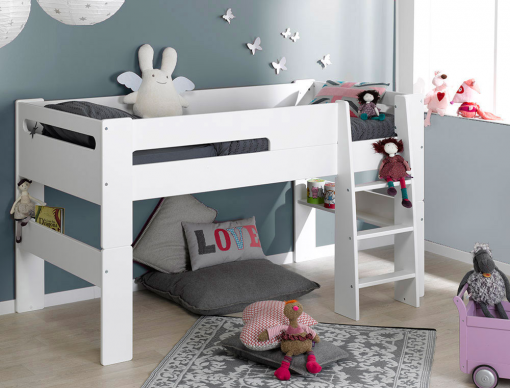 lit mi hauteur enfant london blanc 90x190 cm modulable et cologique. Black Bedroom Furniture Sets. Home Design Ideas