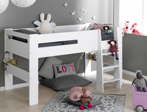 lit enfant mi hauteur blanc volutif london avec son matelas 90x190x16cm. Black Bedroom Furniture Sets. Home Design Ideas