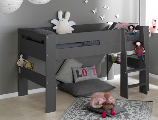 lit mi hauteur enfant london anthracite 90 190 chambrekids. Black Bedroom Furniture Sets. Home Design Ideas