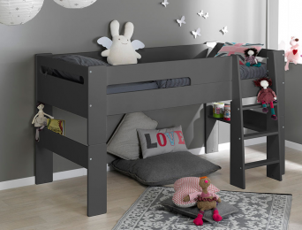 Lit mi hauteur enfant London Anthracite 90/190