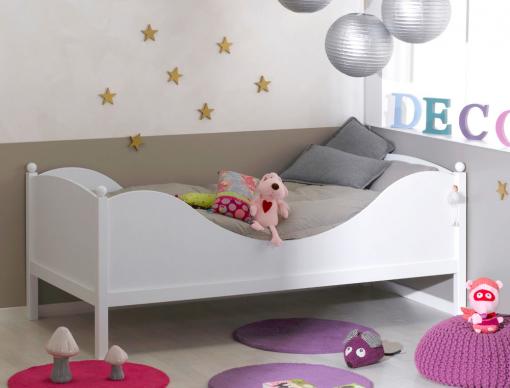 lit enfant blanc color avec son sommier et son matelas. Black Bedroom Furniture Sets. Home Design Ideas