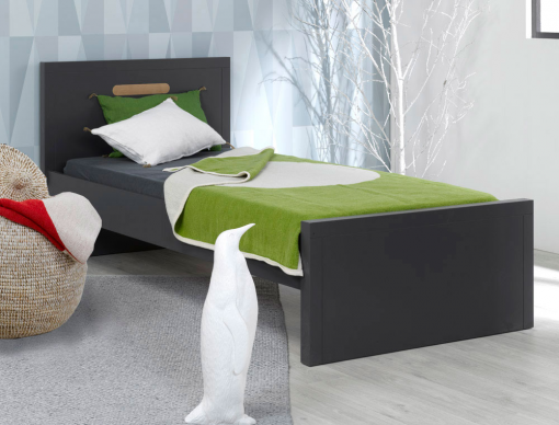 lit enfant milo anthracite 90x200 avec sommier et matelas chambrekids. Black Bedroom Furniture Sets. Home Design Ideas