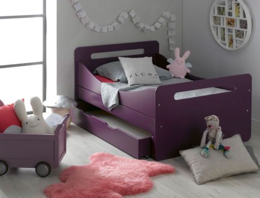 lit enfant volutif violet f ro avec tiroir et matelas chambrekids. Black Bedroom Furniture Sets. Home Design Ideas