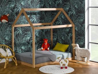 Lit cabane montessori en bois 90x140 avec matelas