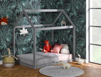Lit cabane Montessori Gris pour enfant avec Matelas 90x140 cm